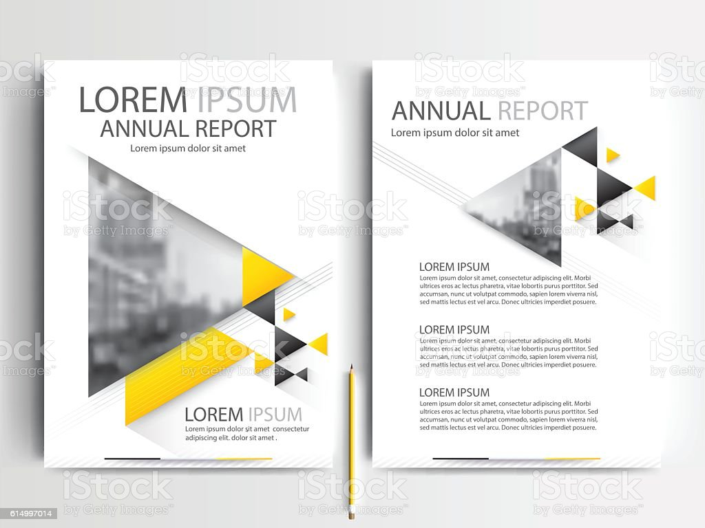 triangle yellow flyer brochure template design of annual report