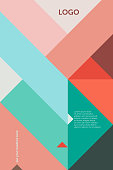 Geometric vector cover template (suitable for ads, editorials or poster design), based on triangles and a 45 degree grid in red, pink and green; including space for copy text.