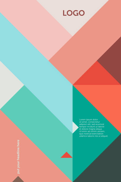 Triangles 45 degree – Cover Design Template 1 (Geometric Minimalism Set) Geometric vector cover template (suitable for ads, editorials or poster design), based on triangles and a 45 degree grid in red, pink and green; including space for copy text. triangle shape stock illustrations