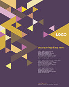 Geometric vector layout template (suitable for ads, editorials or poster design), based on triangles and a 60 degree grid in mustard yellow, pink and purple; including space for copy text.