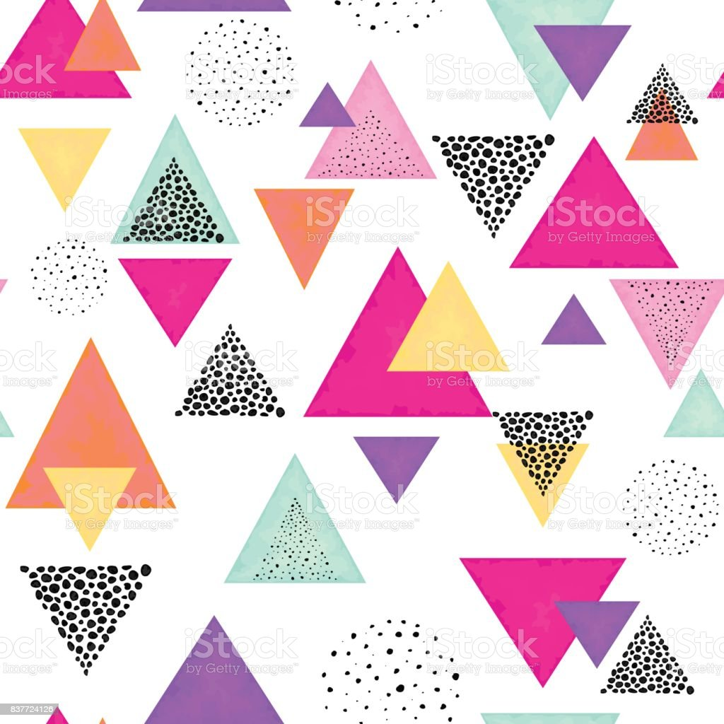 Triangles and Black Dots. Seamless Pattern vector art illustration