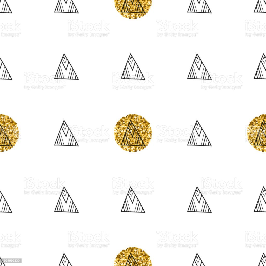 Triangles and golden circles, sequins. Seamless pattern. Geometric, abstract background. Doodle shapes. royalty-free triangles and golden circles sequins seamless pattern geometric abstract background doodle shapes stock vector art & more images of backgrounds