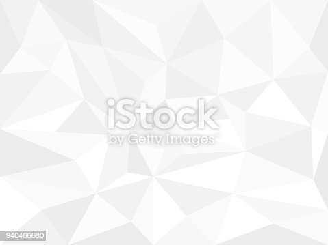 Abstract white  background with triangles and polygonal. Vector geometric monochrome pattern