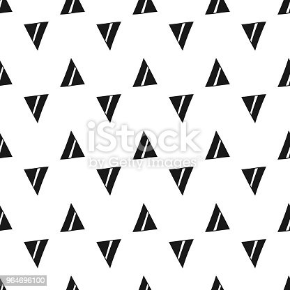 Triangles Black And White Seamless Pattern Geometric Abstract Background For Covers Textile Doodle Shapes Stock Vector Art & More Images of Backgrounds 964696100