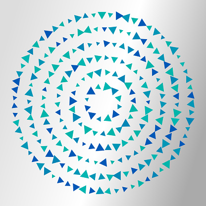 Triangles in concentric circles pointing inwards. Copy space. Shiny background.