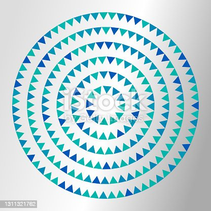 istock Triangles in concentric circles pointing inwards. Copy space. Shiny background. 1311321762
