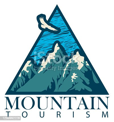 Vector travel banner in retro style with snow-crowned mountains, flying eagle and an inscription Mountain tourism. Suitable for emblems, flyers, labels, triangular pennants.
