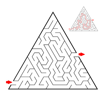 Triangular black labyrinth on white background. Children maze. Game for kids. Children puzzle. Help find a way out.