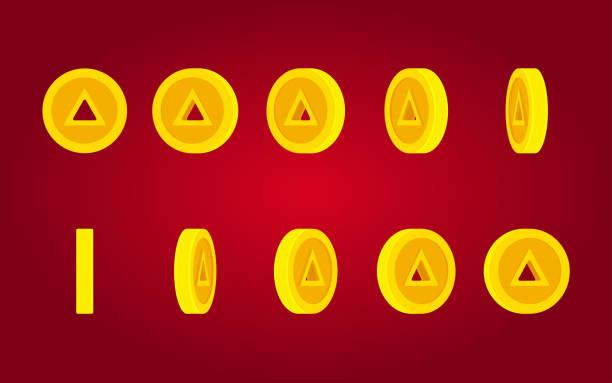 紅色背景上的三角形孔硬幣旋轉動畫雪碧片 - gif 幅插畫檔、美工圖案、卡通及圖標