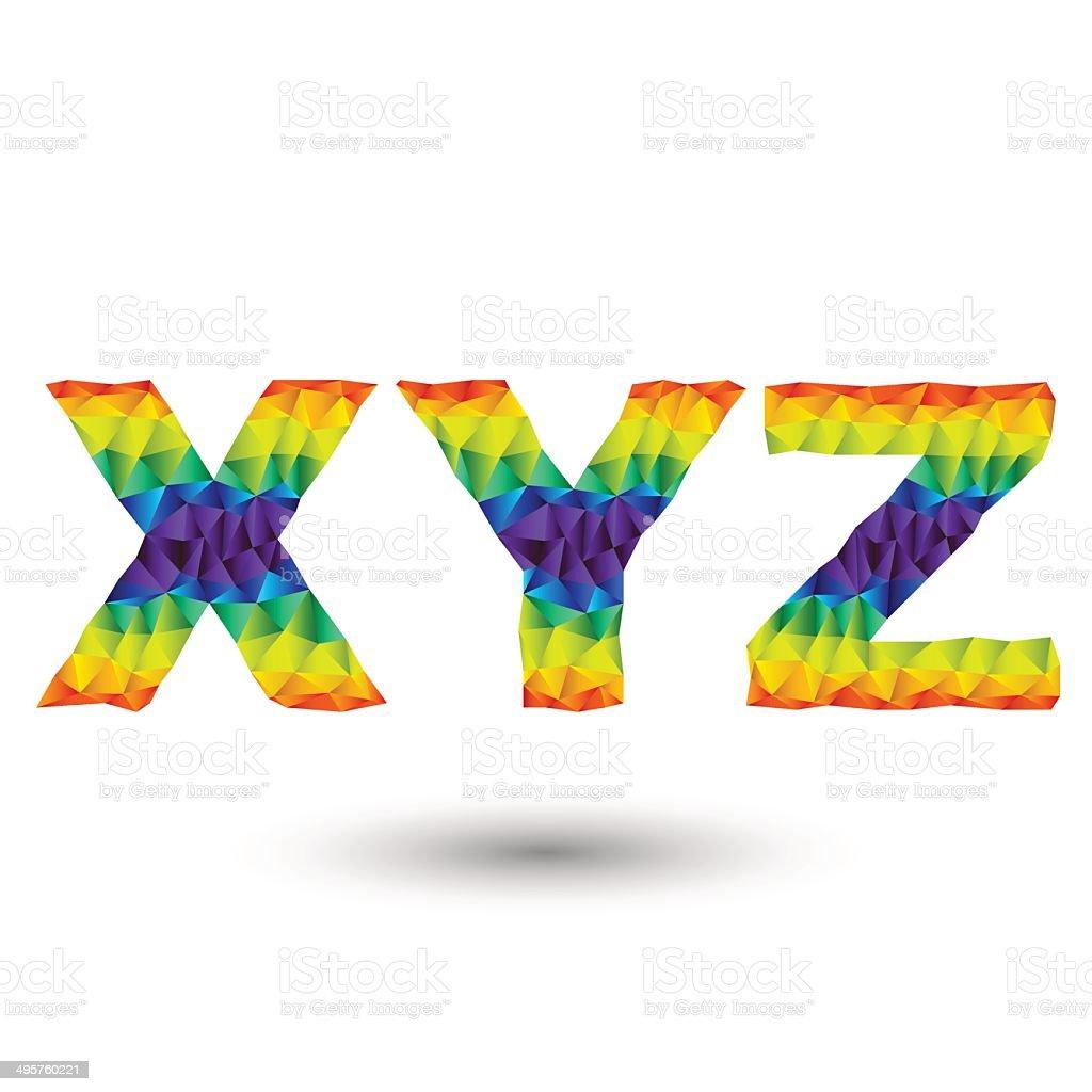 triangular letters xyz royalty-free stock vector art