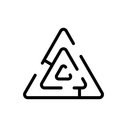 triangular maze icon vector outline illustration