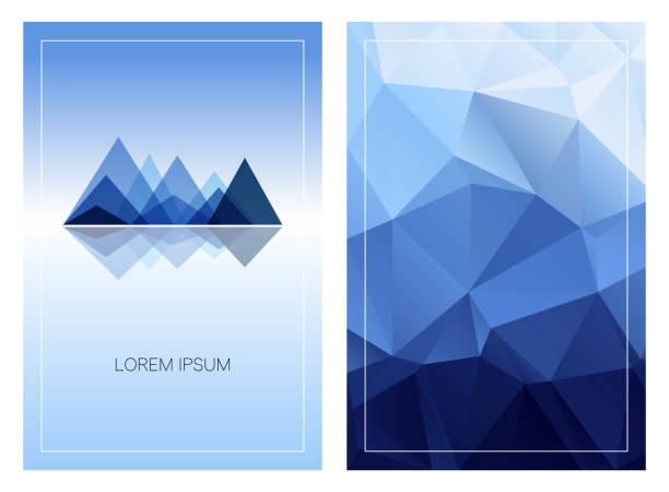 Triangular mountain ridges with vertical polygonal background. Set of geometric style cards template. Front and back page. Can be used for posters, flyers, brochures design, covers and digital banners mountain top stock illustrations