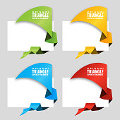 Triangular origami angle speech bubble. Origami dialogue banner for your message. Special offer. Discount tag, badge, emblem. Web stickers. Price tag template for catalog with space for text