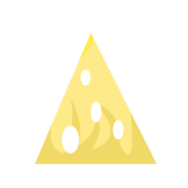Triangular piece of cheese with holes and patterns vector art illustration
