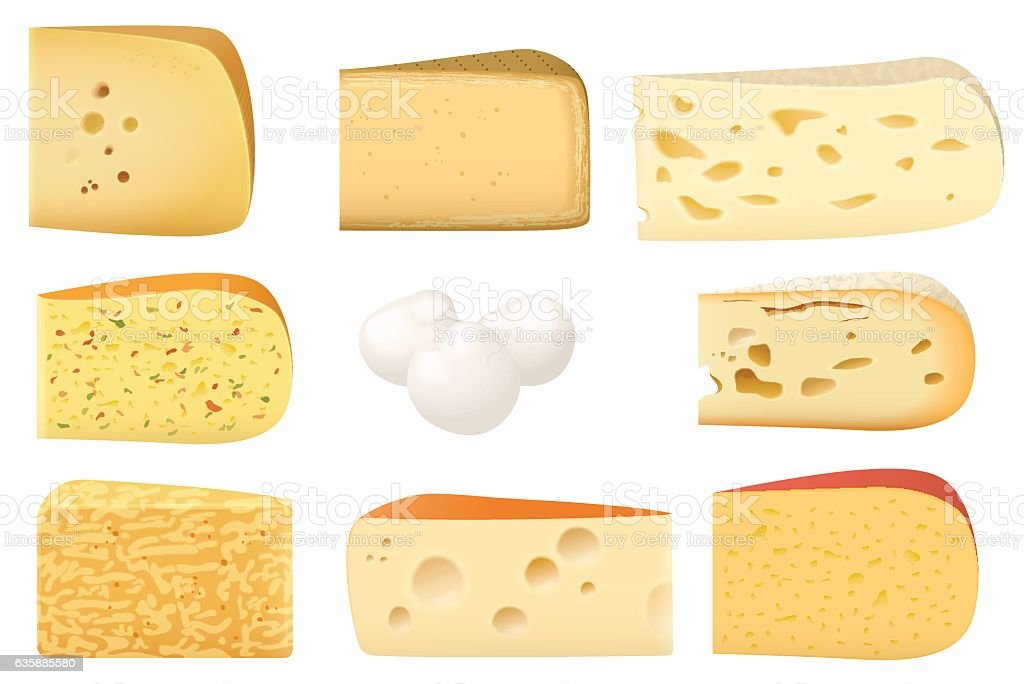 Triangular Pieces Of Different Kind Cheese Set Parmesan
