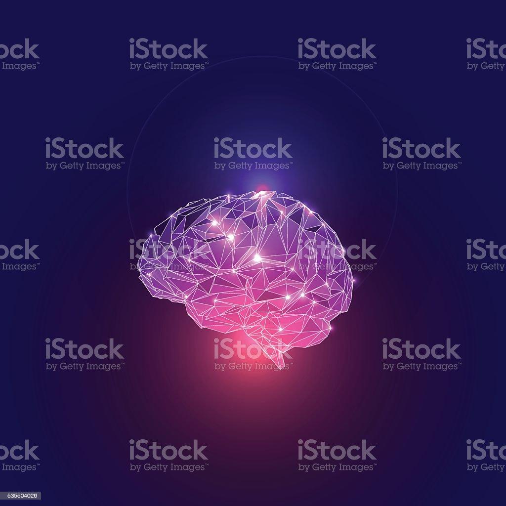 Triangular Polygons Human Brain. vector art illustration