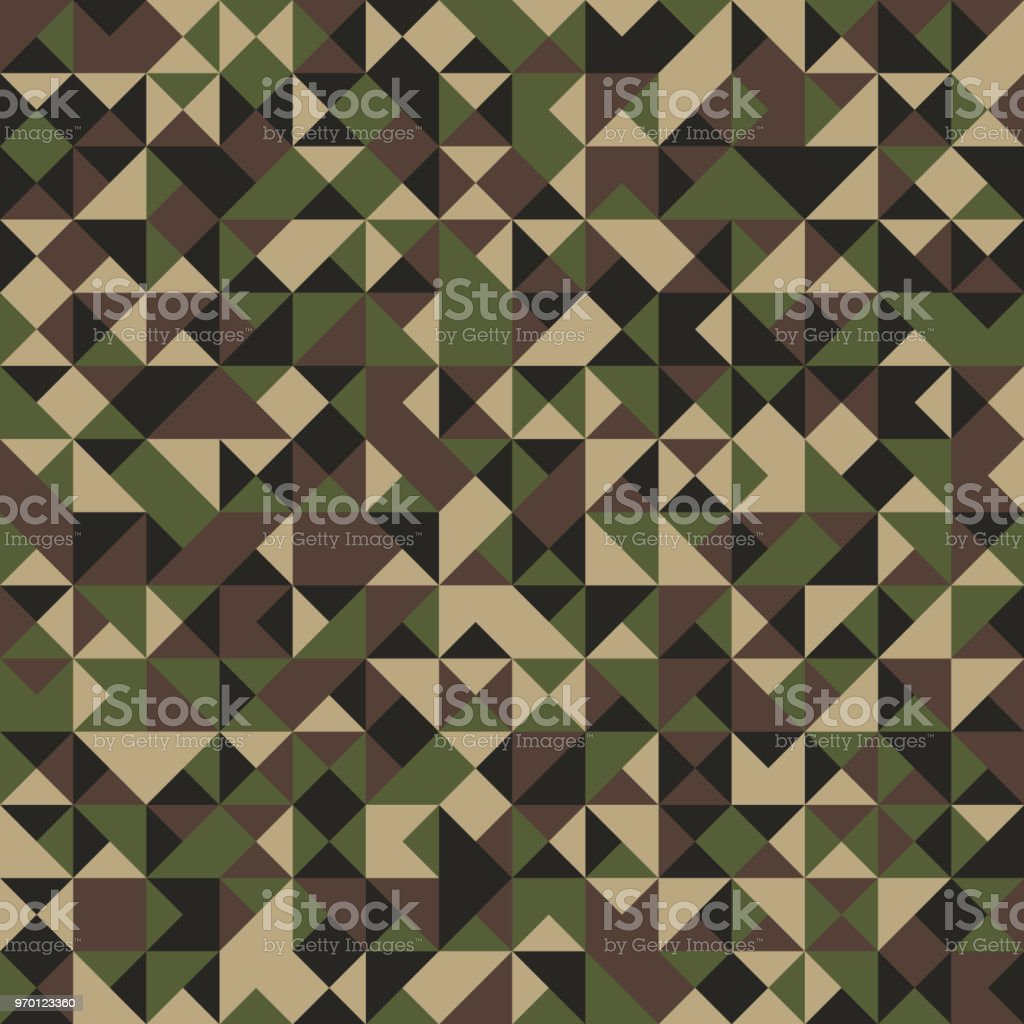 Triangular Shaped Camouflage Seamless Pattern. Abstract Vector Background vector art illustration