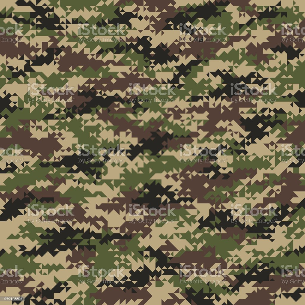 Triangular Shaped Seamless Woodland Camouflage Pattern. Abstract Vector Background vector art illustration