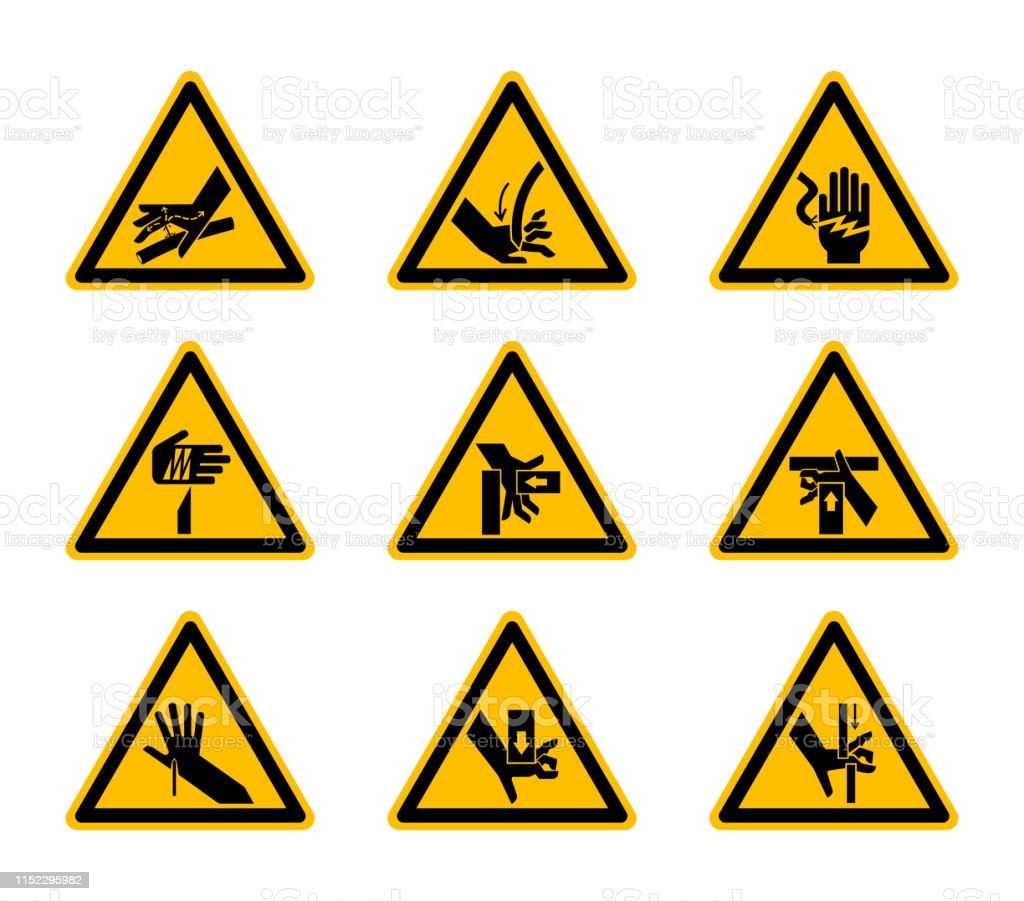 Dreieckige Warnzeichen Symbole Isolate Auf Weißem Hintergrund ...