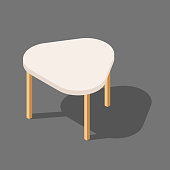Wooden low table with three legs, triangular table for room, flat vector illustration isolated on white background, isometric