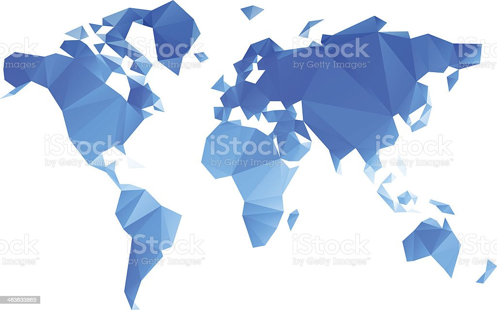 Triangular World Map vector file vector art illustration