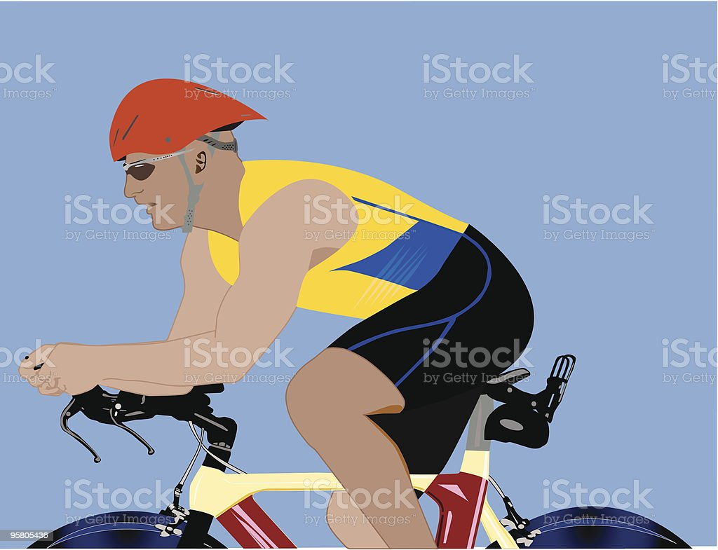 Triathlete sprints to the finish vector art illustration