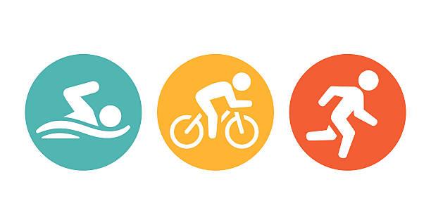 トライアスロン競技者たちのアイコン - 水泳点のイラスト素材/クリップアート素材/マンガ素材/アイコン素材