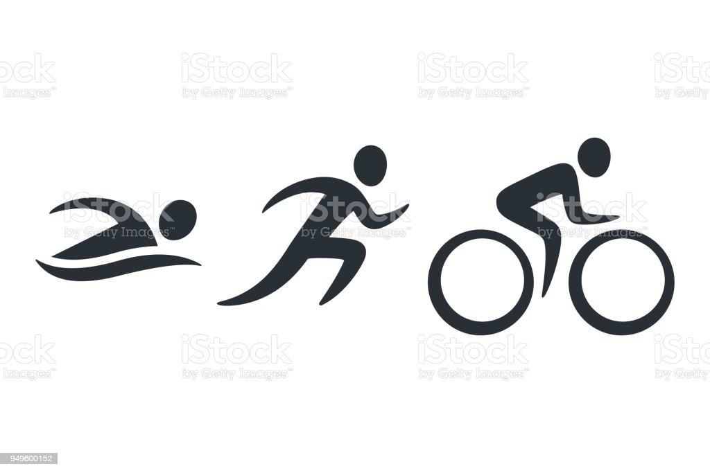 Triathlon activity icons - Royalty-free Abstrato arte vetorial