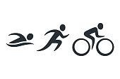 Triathlon activity icons - swimming, running, bike. Simple sports pictogram set. Isolated vector illustration.