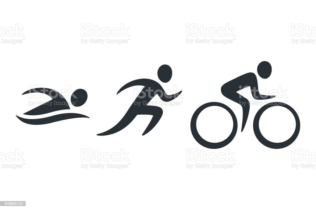 Triathlon activity icons vector art illustration