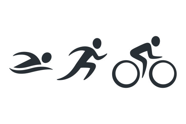 triathlon activity icons - bike stock illustrations, clip art, cartoons, & icons