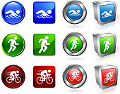 Triathlon Competition royalty free vector icon set
