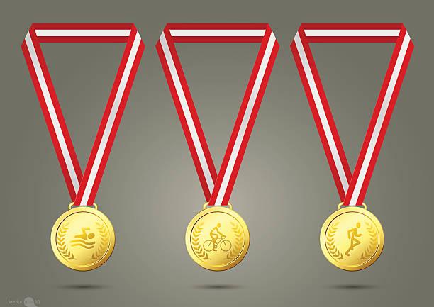Triathlon Gold Medals vector art illustration