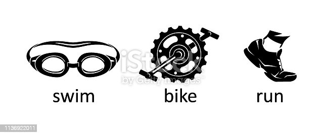 Isolated vector illustration of sports objects, goggles, bike pedal and rubber shoe.