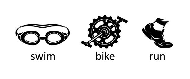 Triathlon Icon Silhouettes Isolated vector illustration of sports objects, goggles, bike pedal and rubber shoe. swimming goggles stock illustrations