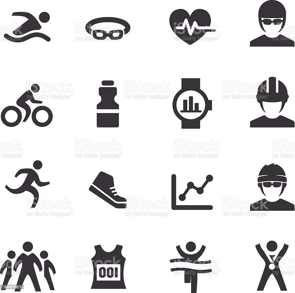 Triathlon Icons - Acme Series vector art illustration