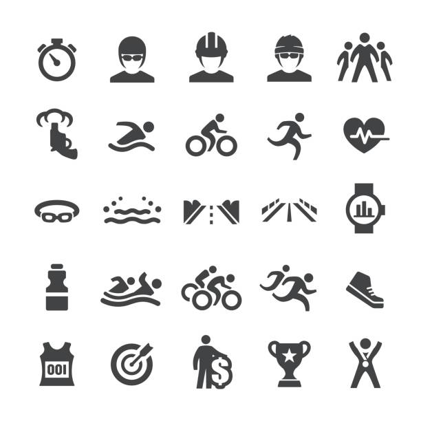 Triathlon Icons - Smart Series vector art illustration