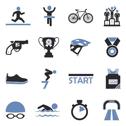 Triathlon Icons. Two Tone Flat Design. Vector Illustration.