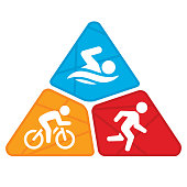 An illustration of the three disciplines involved in a triathlon race. They include a swimmer, bicyclist and runner.