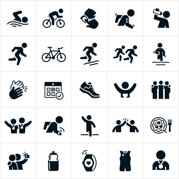 ilustrações de stock, clip art, desenhos animados e ícones de triathlon icons - swim arms