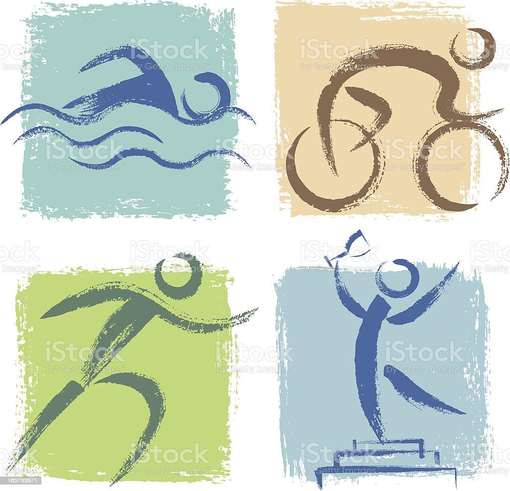 Triathlon Icons royalty-free stock vector art