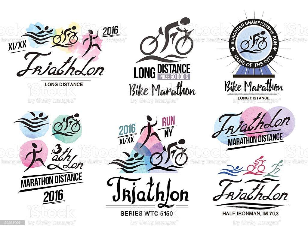 triathlon logo sports logo with elements of calligraphy