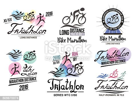 Triathlon logo. Sports logo with elements of calligraphy. Bike marathon logo. Bicycle badge. Runner icon. Sport poster triathlon. Emblem and sign of the triathlon.
