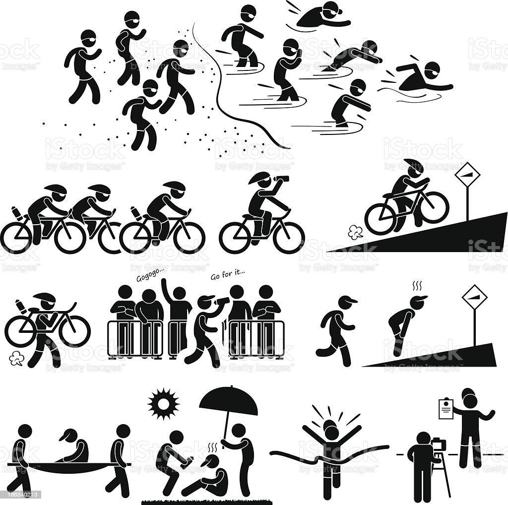 Triathlon Marathon Swimming Cycling Sports Running Pictogram vector art illustration