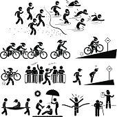 Triathlon Marathon Swimming Cycling Sports Running Pictogram