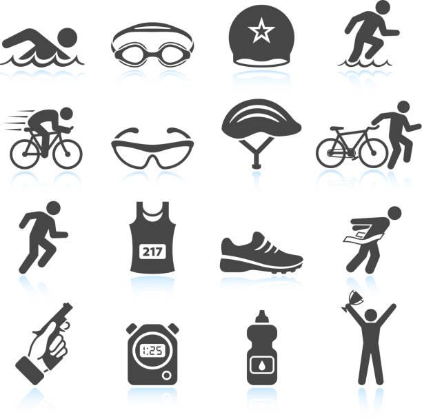 ilustrações de stock, clip art, desenhos animados e ícones de triatlo desporto evento iron man vector conjunto de ícones - swim arms