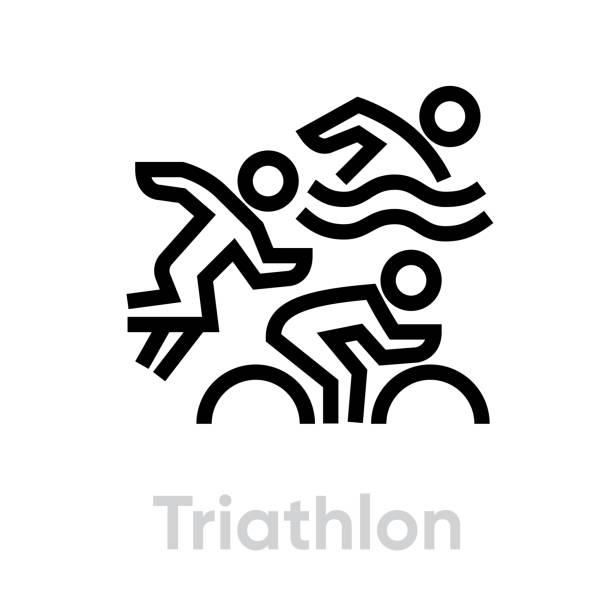 Triathlon sport icons vector art illustration