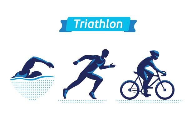 Triathlon symbols or badges set. Vector figures triathletes vector art illustration