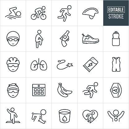 Triathlon Thin Line Icons - Editable Stroke