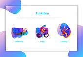 People doing triathlon. Swimming, cycling, running.